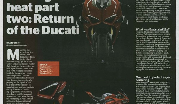 Braving the heat part two: Return of the Ducati