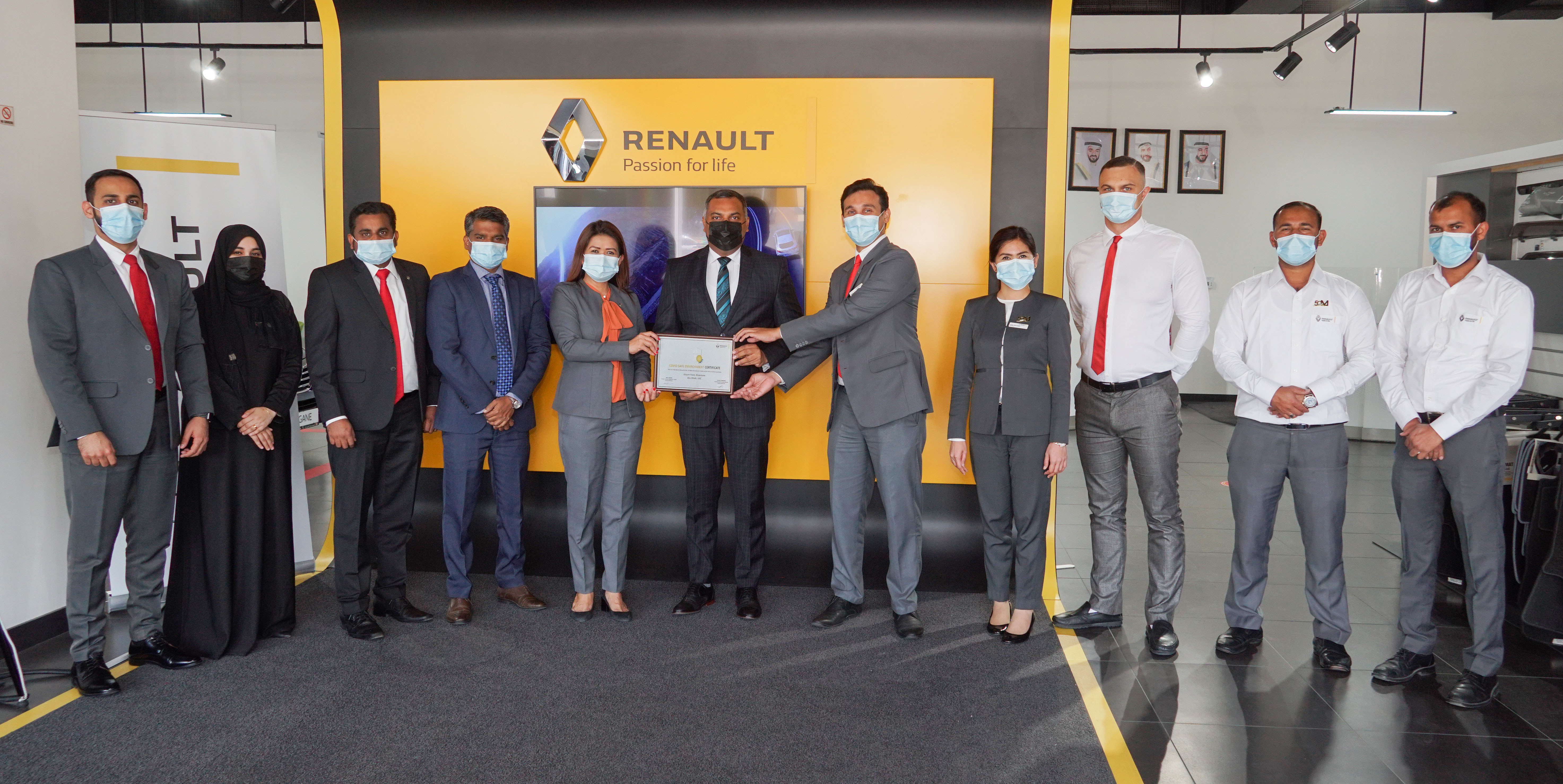 Al Masaood Renault  Awarded  'COVID Safe Environment Certificate'